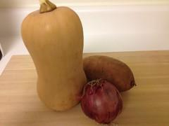 butternut squash, sweet potato, red onion