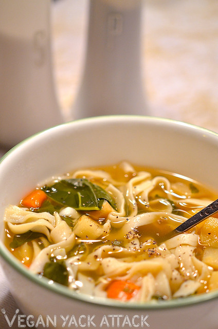 This Roasted Vegetable Noodle Soup will warm you right up with its hearty veggies, lo-carb noodles and light, herby broth.