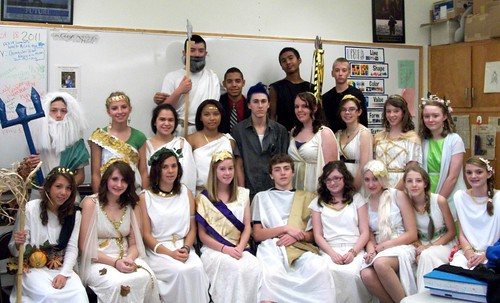 Washburn District High School students dressed up as Greek and Roman Gods and Goddesses pose for a photo.
