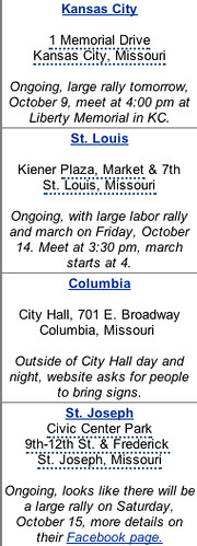 MO Occupy marches weekend Oct 9