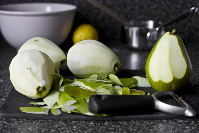 shedding pear skins