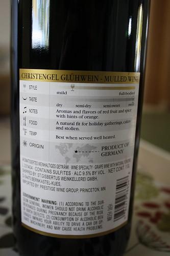 Gluehwein from Aldi back of bottle