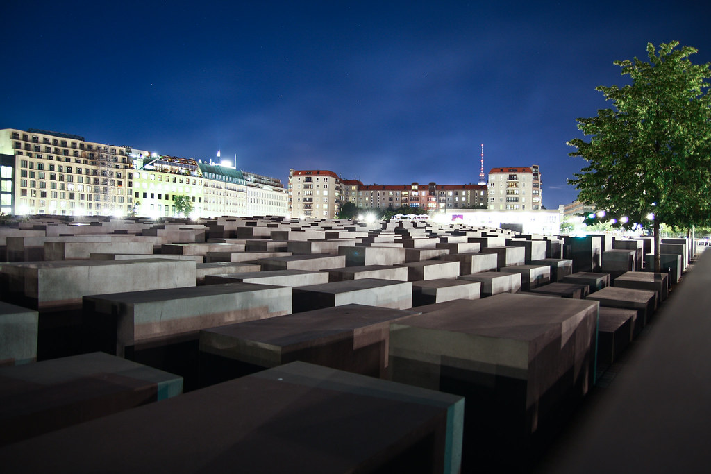 Holocaust Memorial at night, Berlin