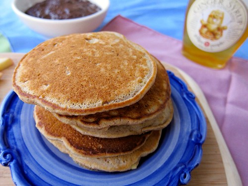 A similar picture to the previous one, but these pancakes have no maple syrup.