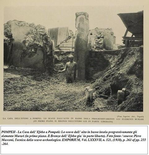 POMPEII - La Casa dell' Efebo a Pompeii [1936-38?]:  Il Bronzo dell' Efebo gia` in parte libarto).  Foto fonte / source: Pirro Marconi, Tecnica dello scavo archeologico. EMPORIUM, Vol. LXXXVII, n. 521, (1938), p. 263 of pp. 255-264. by Martin G. Conde