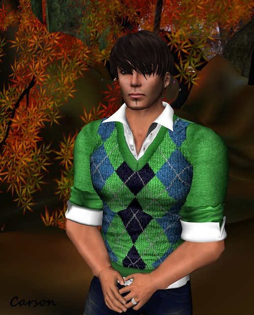 GizzA -  Argyle  GreenBlue Sweater