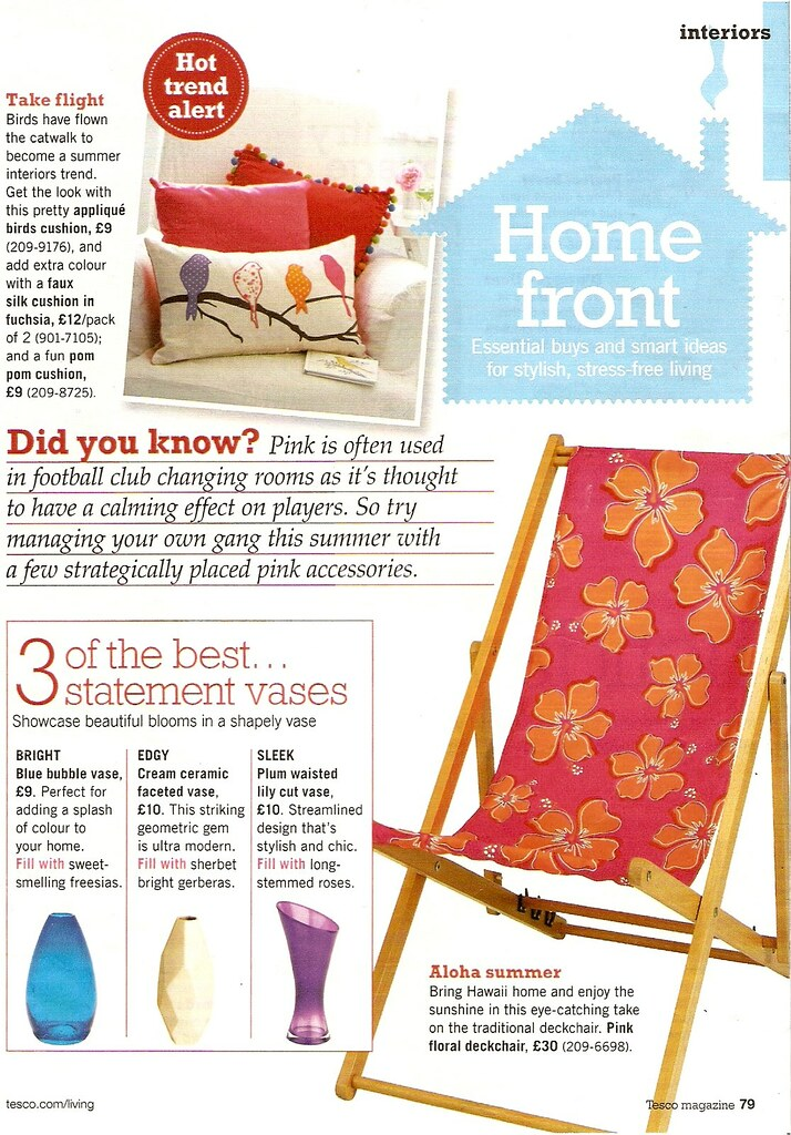 Page from Tesco Living magazine - relevant text reproduced in article.