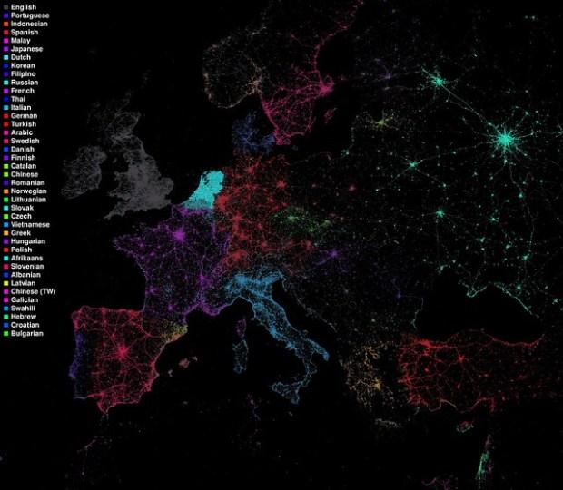 Language communities of Twitter (European detail)