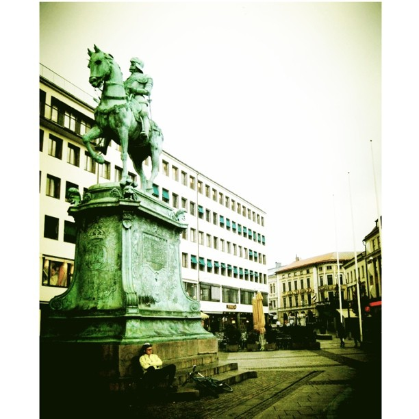 Goteborg Sweden. I liked the courier resting on that massive statue