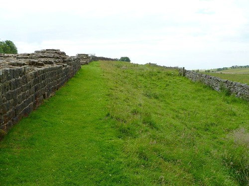 The curtain wall and ditch E of Milecastle 49