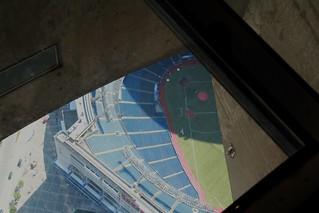 through the glass floor