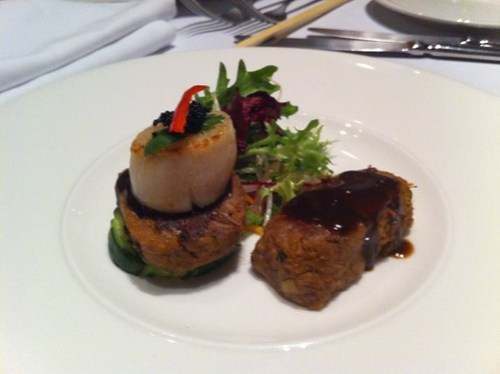 Lamb & Scallop entree, nine fine food