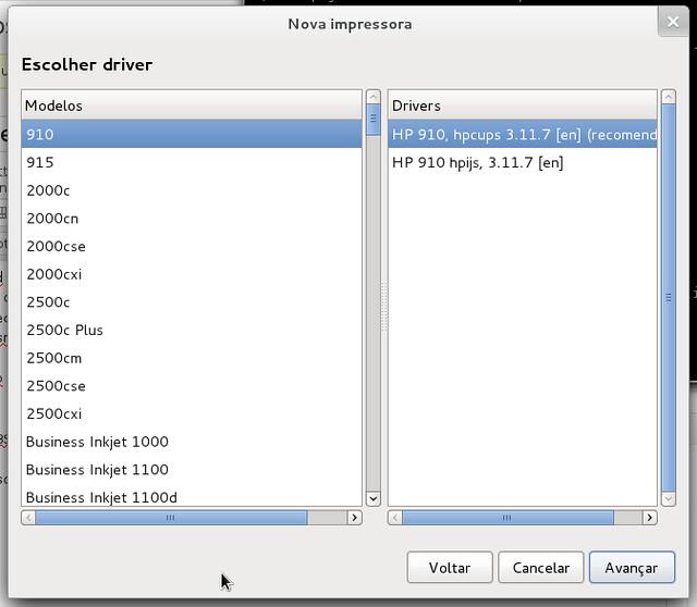 Trecho da lista de drivers de impressoras HP após instalar HPLIP