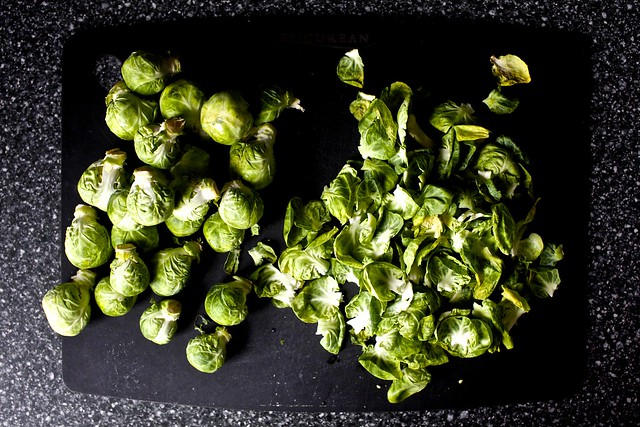 a sad bag of sprouts, much to peel