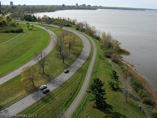 Ottawa River Parkway Looking West towards Westboro Beach, Ottawa, Ontario, Canada.
