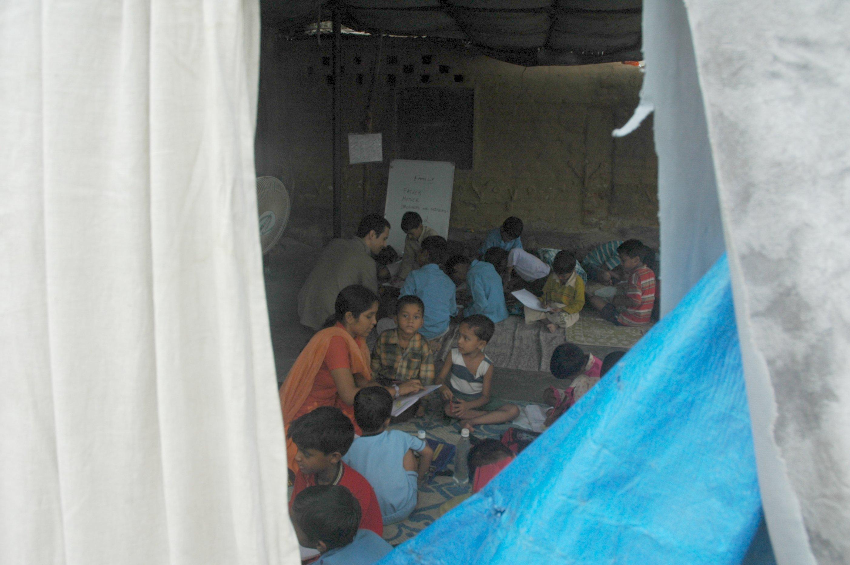 Even cities are no different. Slum school, Okhla, Delhi