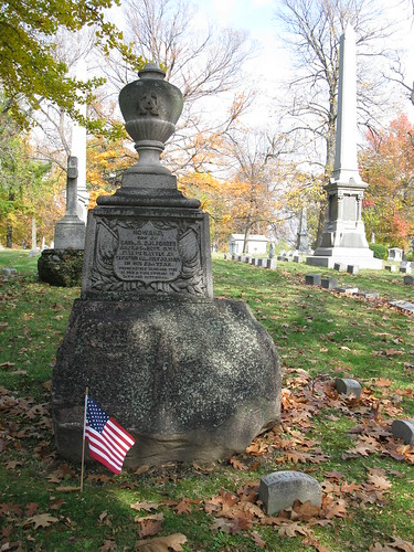 Howard Forrer's grave in Woodland Cemetery, Section 102