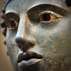 Detail, The Charioteer of Delphi, also known as Heniokhos (the rein-holder), photographer unknown