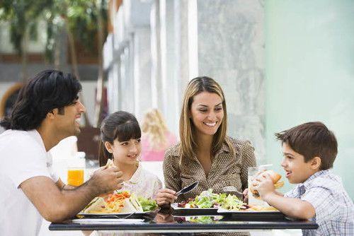 Family having lunch at restaurant