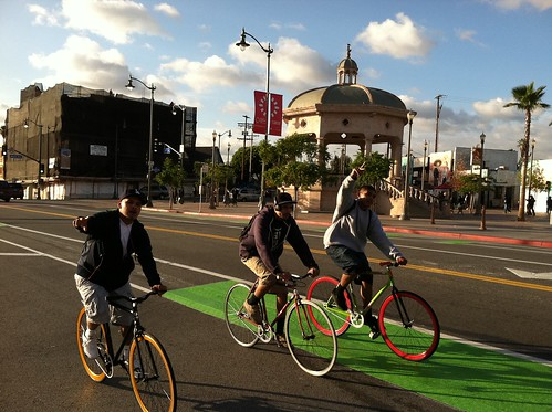First Street green lane action at Mariachi Plaza!