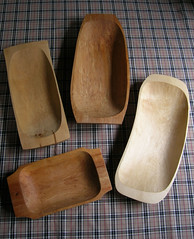 Carved green wood bowls