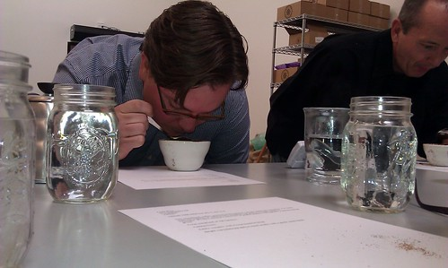 John from Beacon Coffee cupping some Costa Rican peaberry