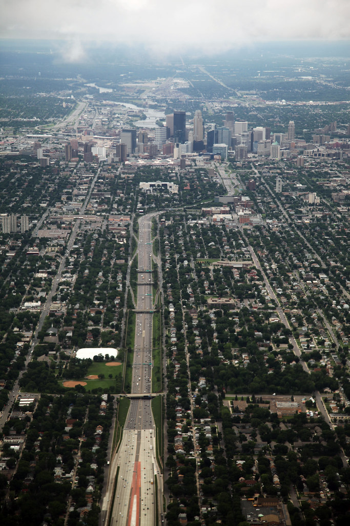 Aerial of Minneapolis Minnesota - looking north towards town up Highway 35W