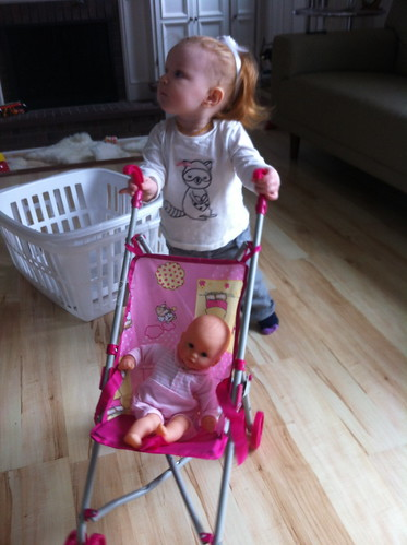 Walking her baby