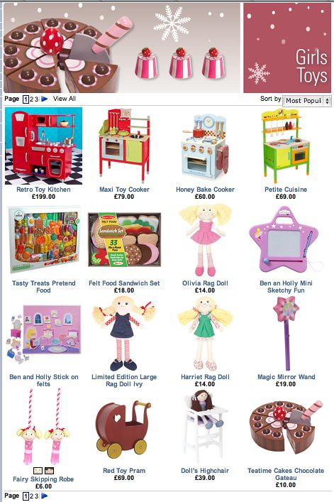 First page of Jojo Maman Bebe's online 'toys for girls' listings: mostly toy cookery, food, and dolls etc.