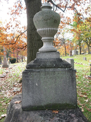 Tombstone of Mary (Forrer) Peirce in Woodland Cemetery, Section 102