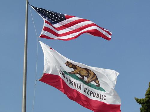 US National Flag and California State Flag, City Hall, Santa Monica