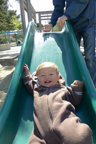 Baby loves the slide!