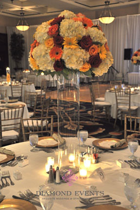 Tall White Hydrangea Centerpiece with Roses Gerbera Daisies