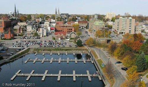 Aerial photograph - Marina at Blockhouse Island, Brockville, Ontario - Kite Aerial Photography