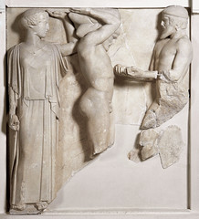 Atlas bring Herakles the Apples of Hesperides, metope from the Temple of Zeus, Olympia, Greece, c.470-456 BC, photographer unknown