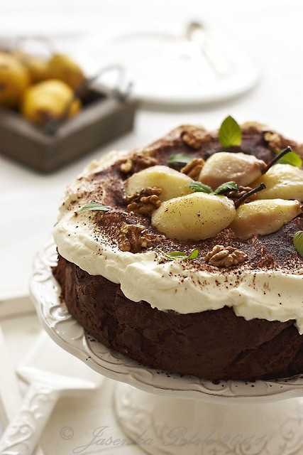 Flourless Chocolate Cake with Chantilly Cream and Glazed Pears