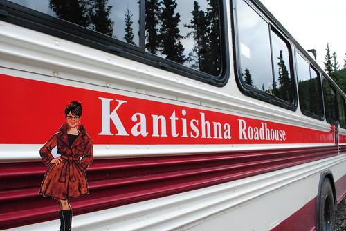 Sarah by the Kantishna Roadhouse Bus