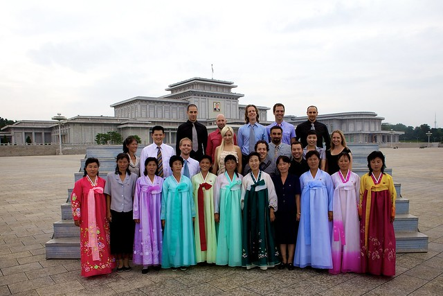 Group Photo with Colorful Korean Natives outside the Kim Il Sung Mausoleum