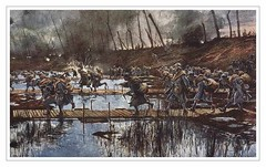French troops attacking across the flooded Flanders plain, Battle of the Yser, 1914, by François Flameng