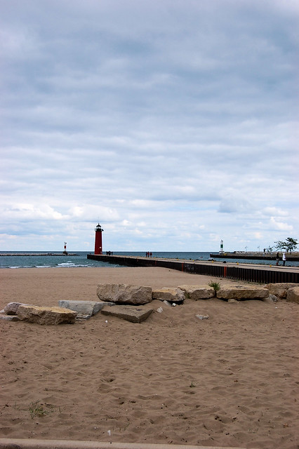 Kenosha harbor light from Simmons Island