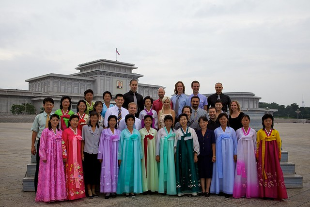 Group Photo with Colorful Korean women outside of the Kim Il Sung Mausoleum