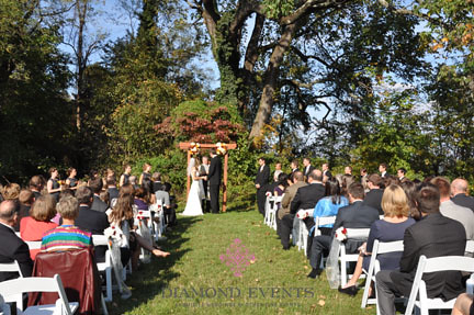 Outdoor wedding ceremony at River Farm in Alexandria Virginia decorated and coordinated by Diamond Events