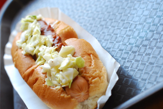 chili slaw dog at trolley dogs