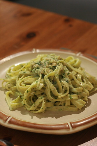 Tagliatelle with hazelnut pesto