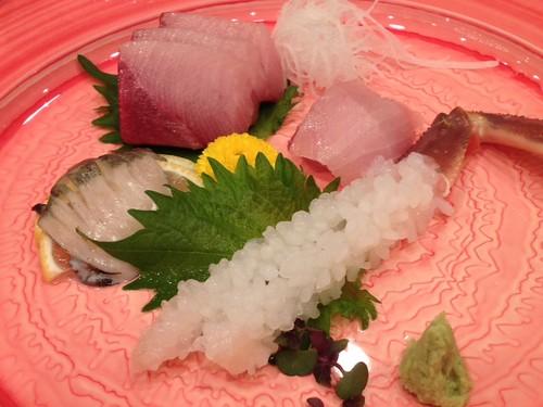 お造り三種盛り(松葉ガニ、寒ブリ、クロアワビ)@京都・丹後PRフェアin東京