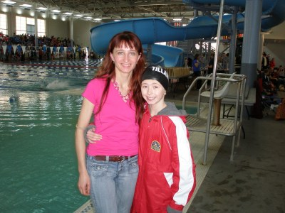 Nina & Monika at the Regional Swim Meet in Boise