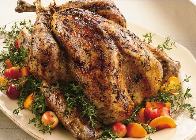 Roast Turkey with Fresh Thyme Rub and Maple Glaze Recipe