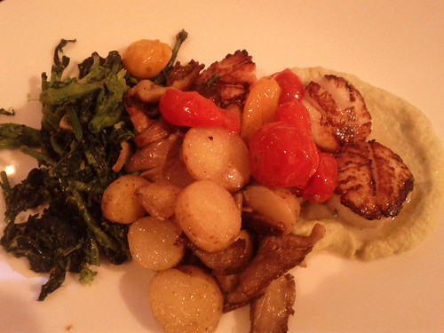 Scallops, romesco puree, tomatoes, fingerling potatoes, oyster mushrooms and broccoli rabe by Ryan