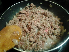 Ground beef, onions, garlic for lumpia