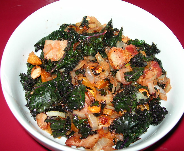 Red Kale with Bacon, Dried Apricots and Almonds